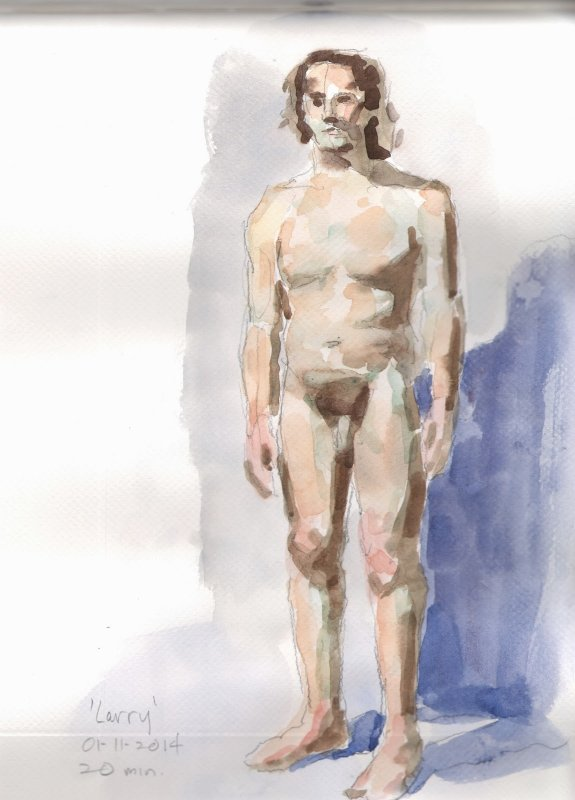 Larry, watercolor, 13x9 in., 20 min pose