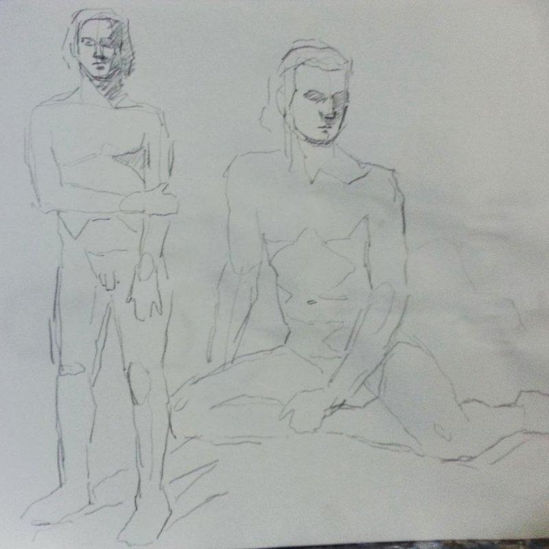 5 minute gestures drawings, pencil, 12x16 in.