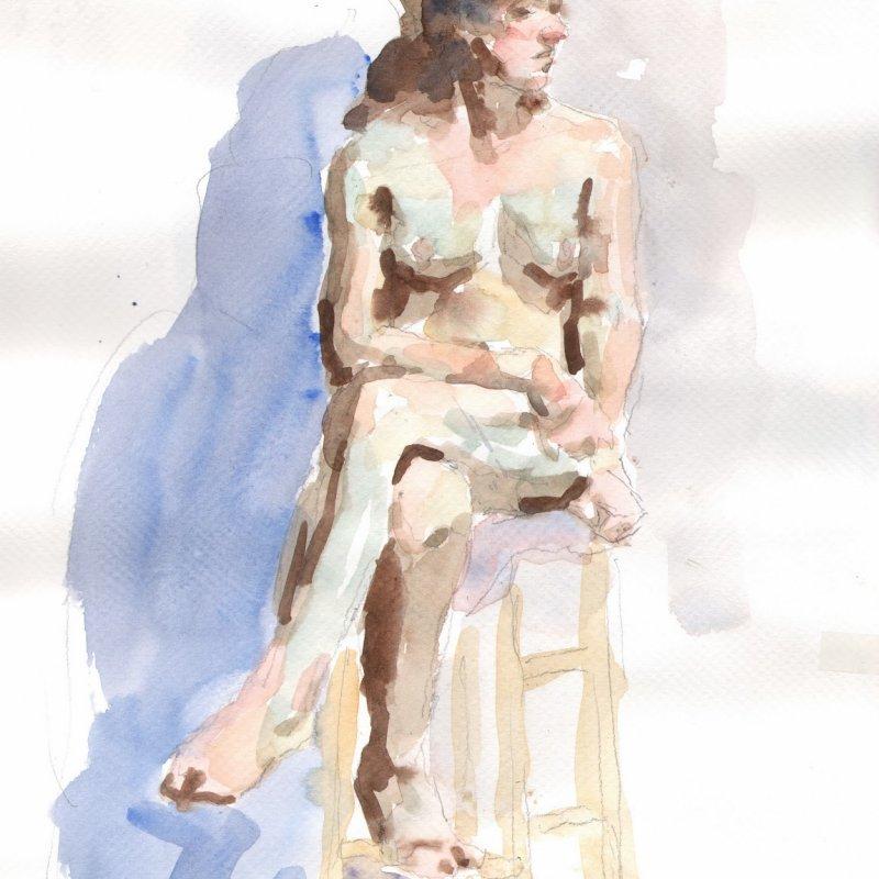 'Jenna (on stool)' 13x9 in., 20 min. pose
