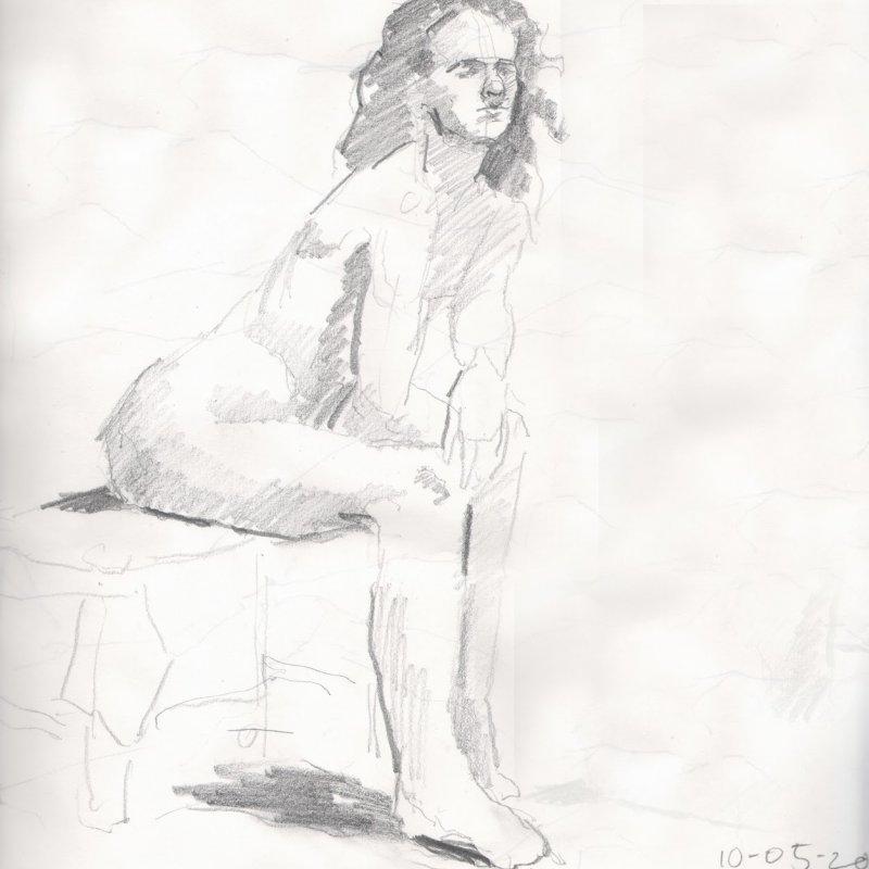 'Jenna - drawing', 16x12 in., 10 min. pose
