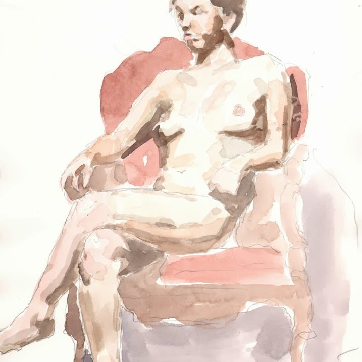 'Red Chair (Anna)', 16 x 12 in., 20 min. pose