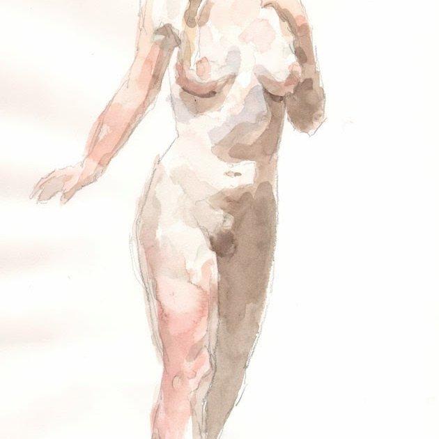 'Anna 1', watercolor, 14 x 10 in., 20 min. pose