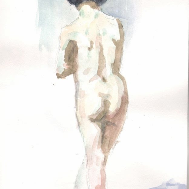 'Jenna', watercolor/paper, 9 x 12 in., 20 minute pose