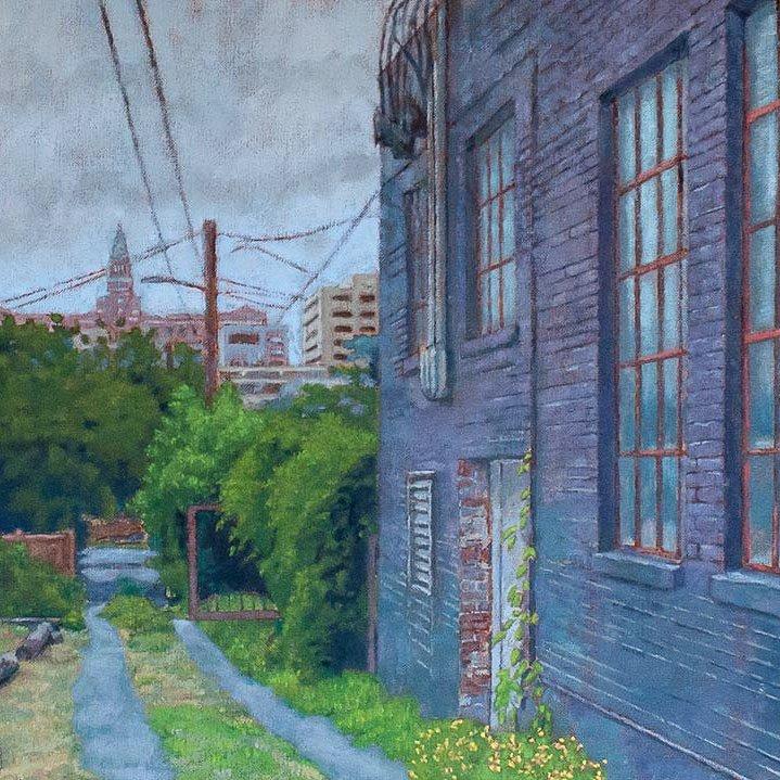 Northwestern Alley, oil on linen, 18 x 24 in.