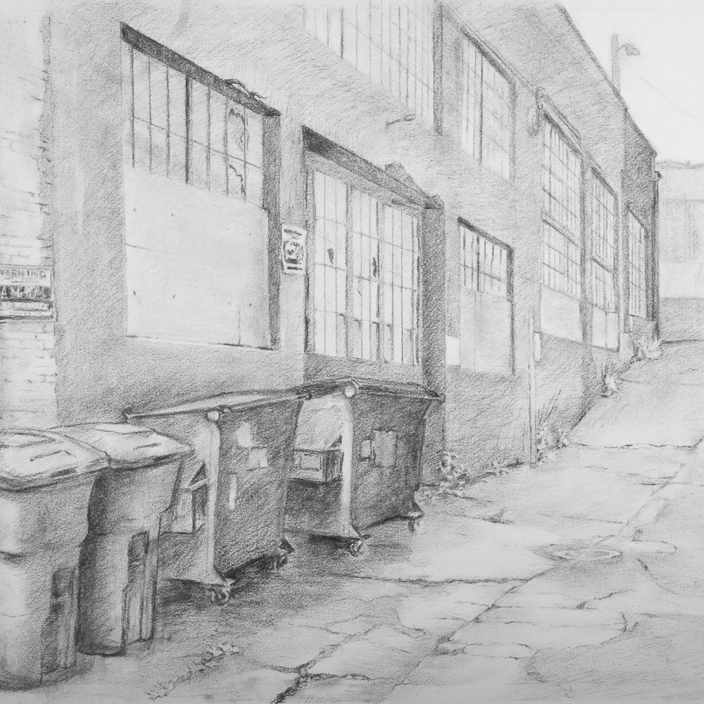 Capitol Hill Alley, charcoal on paper, 21 x 28 in.
