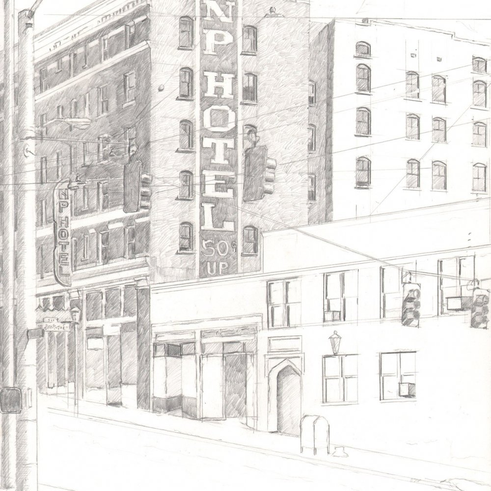 Hotel, pencil on paper, 14 x 11 in.