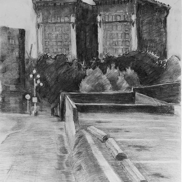Looking West on Yesler, charcoal on paper, 24 x 18 in.