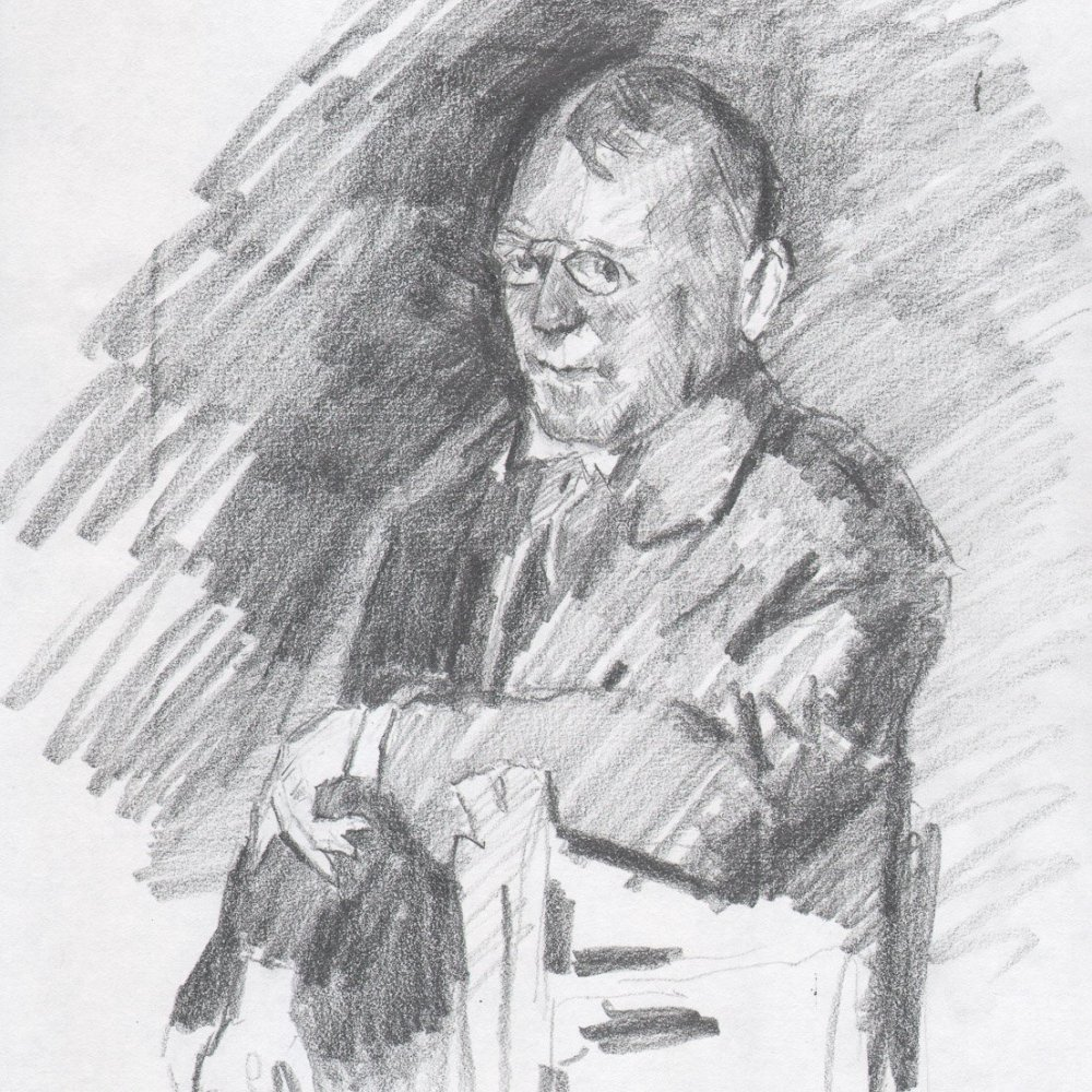 Portrait of James Whitcomb Riley (Copy after Sargent), pencil on paper, 12 x 9 in.