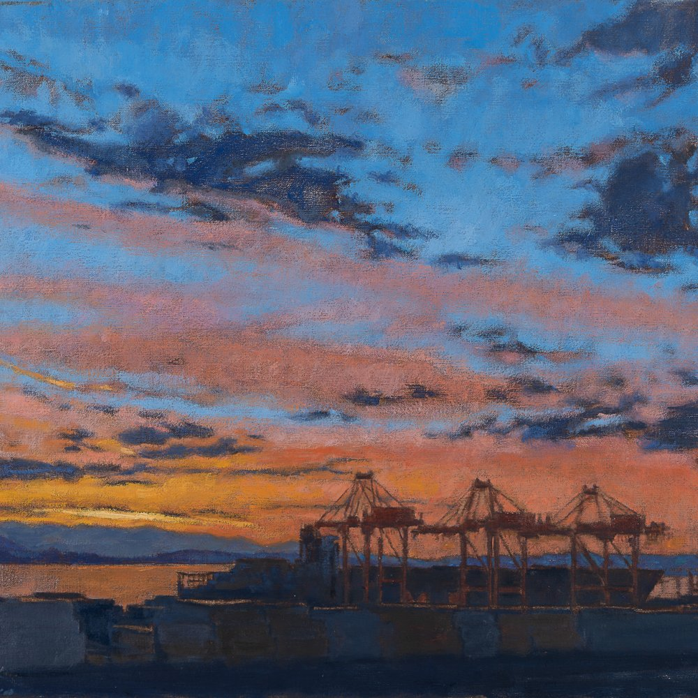 Cranes Grazing at Sunset, oil on canvas, 16 x 20 in.