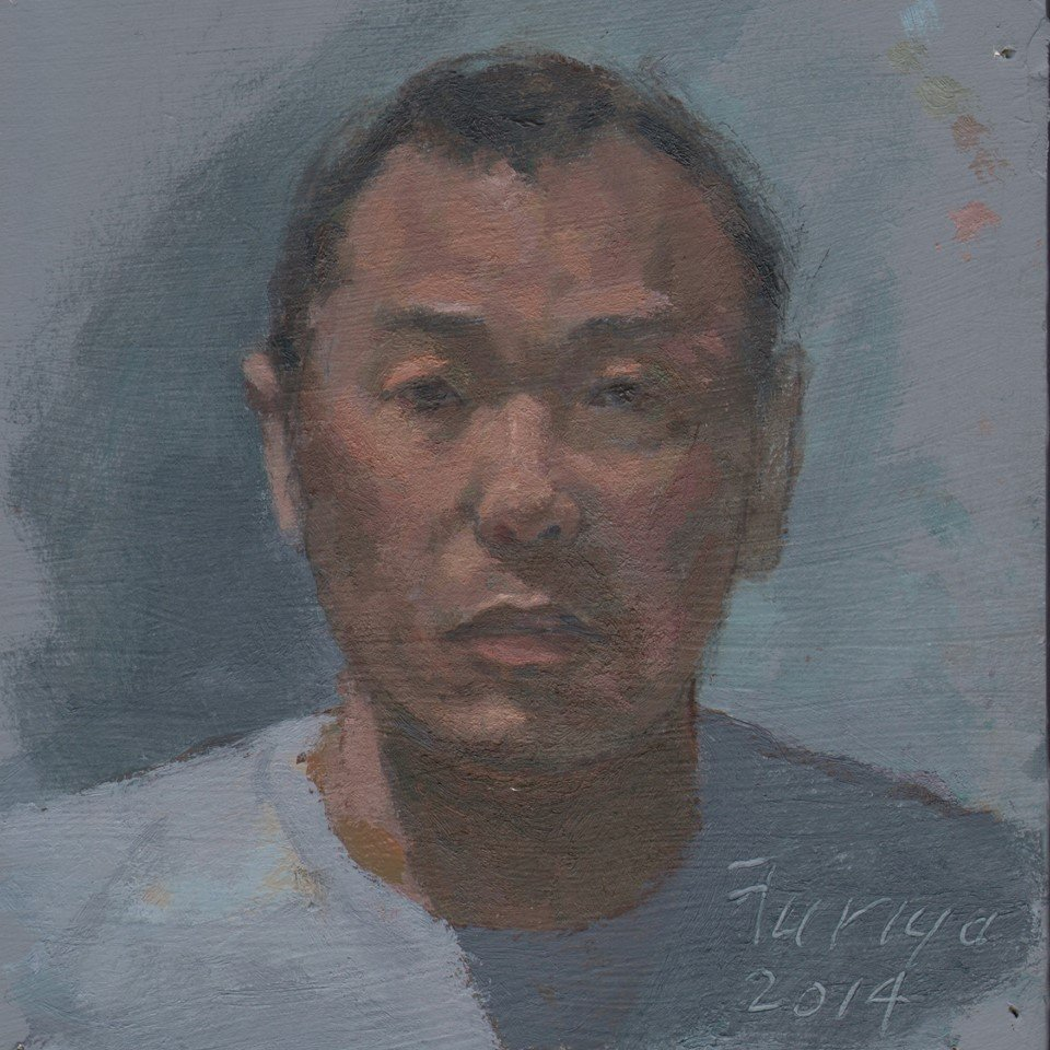 Self-portrait 2014, oil on treated paper, 7 x 6 in.