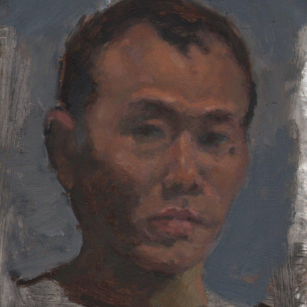 Self-portrait 2013, oil on panel, 6 x 6 in.